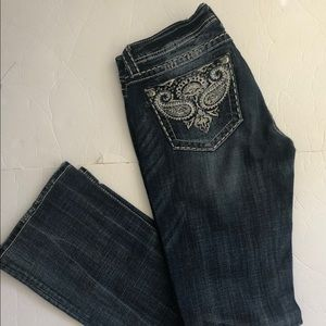 Miss Me Jeans Style Boot Distressed Blue Denim